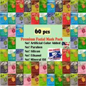 {Entel} 60 pcs combo-pack, Premium Korean Essence Facial Mask Sheet (12 Types x 5 pcs), 5 Chemical Free : No-Paraben, No-Silicon, No-Mineral Oil, No-Artificial Colours and No-Ethanol