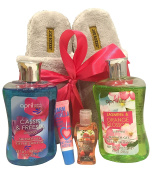 Slipper Gift Sets - Gift Baskets - Fun House Slippers (Womens Large), 2-Shower Gels, Pocketbac, Lip BalmLots of Scents to Choose From