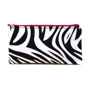 Personalised Zebra Hot Pink Trim Women's Monogrammed Travel Cosmetic Bag