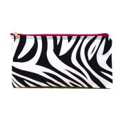 Personalised Zebra Hot Pink Trim Women's Monogrammed Travel Cosmetic Bag
