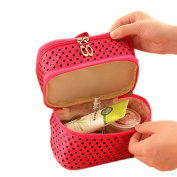 Rich Too Cosmetic Bag Double Layer Dot Pattern Travel Toiletry Bag Organiser With Mirror