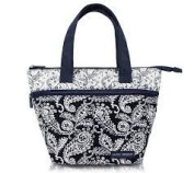 Insulated Tote Lunch Bag - Black and White Paisley