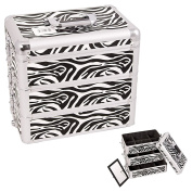 Sunrise White Interchangeable Stackable Tray Zebra Textured Printing Professional Aluminium Cosmetic Makeup Case With Dividers - E3303