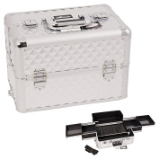 Sunrise Silver Interchangeable Easy Slide Tray Diamond Pattern Professional Aluminium Cosmetic Makeup Train Case With Dividers