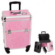 Sunrise Pink Interchangable 4-Wheels Crocodile Textured professional Rolling Aluminium Cosmetic Makeup Case Organiser With Removable Tray And Dividers
