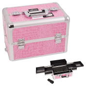 Sunrise Pink Interchangeable Easy Slide Tray Crocodile Textured Printing Professional Aluminium Cosmetic Makeup Case With Dividers - E3301