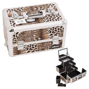 Sunrise Brown Interchangeable 3-Tier Extendable Tray Leopard Textured professional Aluminium Cosmetic Makeup Artist Case With Mirror