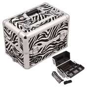 Casemetic White Easy Slide Tray Zebra Textured professional Aluminium Cosmetic Makeup Artist Train Case With Brush Holder And Dividers