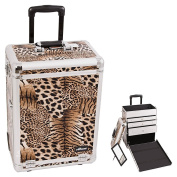 Sunrise Brown Interchangeable Leopard Textured Printing Professional Inline Stake Wheels Rolling Aluminium Cosmetic Makeup Case Organiser with Large Drawers
