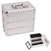 Sunrise Silver Interchangeable Stackable Tray Diamond Pattern Professional Aluminium Cosmetic Makeup Case Organiser With Dividers