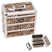 Brown Leopard Professional Aluminium Cosmetic Makeup Case With Dividers - E3303