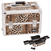 Sunrise Brown Interchangeable Easy Slide Tray Leopard Textured Professional Aluminium Cosmetic Makeup Case Organiser With Dividers