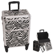 Sunrise White Interchangeable 4-Wheels Zebra Textured Printing Professional Rolling Aluminium Cosmetic Makeup Case With Removable Tray and Dividers - E6301