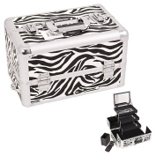 Sunrise White Interchangeable 3-Tier Extendable Tray Zebra Textured professional Aluminium Cosmetic Makeup Artist Case With Mirror