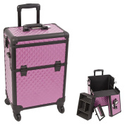 Sunrise Purple / Black Interchangeable 4 Wheels Diamond Pattern Professional Rolling Aluminium Cosmetic Makeup Case with Removable Tray, Dividers and Key Lock