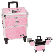 Sunrise Pink Interchangeable 3-Tiers Accordion Trays Crocodile Textured Printing Professional Rolling Aluminium Cosmetic Makeup Case - E6304