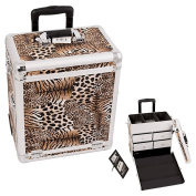 Sunrise Brown Interchangeable Leopard Textured Printing Professional Rolling Aluminium Cosmetic Makeup Case With Split Drawers - E6302