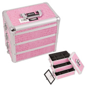 Sunrise Pink Interchangeable Stackable Tray Crocodile Textured Printing Professional Aluminium Cosmetic Makeup Case With Dividers - E3303