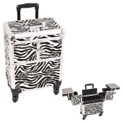 Sunrise White Interchangeable 3-Tiers Accordion Trays Zebra Textured Printing Professional Rolling Aluminium Cosmetic Makeup Case - E6304