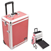 Sunrise Hot Pink Interchangeable Crocodile Textured Printing Professional Rolling Silver Aluminium Trim Cosmetic Makeup Case with Large Drawers