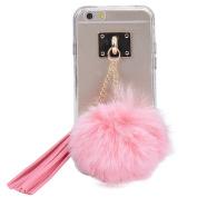 iPhone 6 Plus/6S Plus 14cm Case,Sunfei Rhinestone Soft Transparent TPU Protect Phone With Fur Ball For iPhone 6 plus/6S plus 14cm