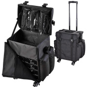 "AW Black Soft-sided Rolling Makeup Case 17x 14"" x 60cm Oxford Cosmetic Train Bag Travel Show Party"