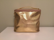 Saks Fifth Avnue Gold Faux Snakeskin Train Case