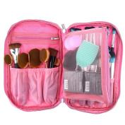 OR Pure Professional Cosmetic Makeup Brush Organiser Makeup Artist Case with Belt Strap Holder Cosmetic Makeup Bag Handbag Pink