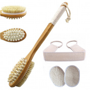 TC Joy Body Brush for Dry Skin, Perfect for Dry Brushing, Exfoliates, Reduce Cellulite & Improve Circulation, Shower & Bath Brush with Long Handle - for Men and Women.