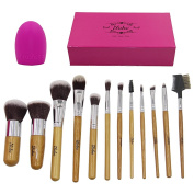 ILOBE 12 Piece Bamboo Handle Premium Soft Synthetic Hair Cosmetic Makeup Powder Foundation Blush Concealer Blending Eye Lip Brush With Quality Box Plus 1 Piece Makeup Sponges
