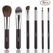 Kitdine Makeup brushes,Wooden Handle Professional Goat hair Pony Hair makeup brush set,Portable cosmetic brush,Make Up brush kit,6 pcs
