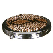 Compact Round Make-Up Mirror Snake Skin Effect Brown