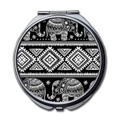 Vintage Aztec Pattern Elephant Pocket Compact Mirror Portable Beauty Accessories