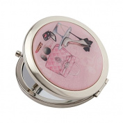 "Compact Mirror Silver Plated ""Glamour Girl"" Chic Designed Cover With Magnification Mirror"