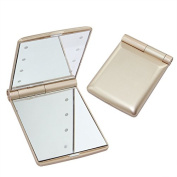 IREALIST Cosmetic Mirror Mini Portable Folding Makeup Cosmetic Mirror with 8 Bright LED Lights