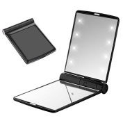 Seetwo Ultra Thin Portable Folding Makeup Pocket Mirror with 8 LED Lights
