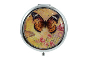 Vintage Butterfly Art - Lovely Butterfly Design Round Double Side Compact Mirror