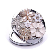 Metal Makeup Mirror , Aooher Bling Crystal Rhinestone Flower Beauty Make up Compact Pocket Mirror Gift for Wedding Party Mirror