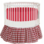 bkb Gingham Round Crib Bedding, Red