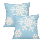 E.life SoSquare ft Christmas Snowflake Style Cotton Line Embroidery Throw Pillow Case Outdoor Cushion Cover Decorative 46cm x 46cm