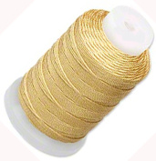 Simply Silk Beading Thread Cord Size FF Gold 0.015 Inch 0.38mm Spool 115 Yards for Stringing Weaving Knotting