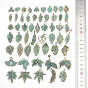 50Pcs Antique Green Different Design leaf Charms For DIY Jewellery Making