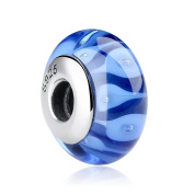 Bamoer Blue Water Waves Lampwork Murano Glass Bead and Charms Sterling Silver Core for Bracelets Gift for women girls