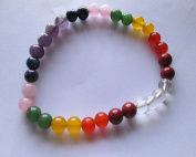 WholesaleGemShop 7-Chakra Bracelet-6 mm Bead with Velvet Pouch