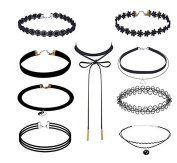 9 Pieces Classic Women Girls Black Lace Tattoo Choker and Velvet Necklace Choker with Pendant
