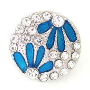 Lovmoment 20MM Flower with Rhinestone and Enamel Snaps Button Jewellery