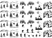 Ski Skier Skiing Black 16CC720 Fused Glass Decals