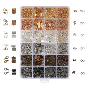 OPount 24 Style 2460 Pcs/ Box Jewellery Making Kit 6 Colours with Open Jump Rings, Lobster Clasps, Cord Ends and Ribbon Ends