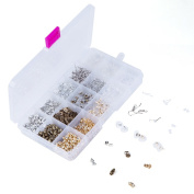 Caydo 15 Styles Earring Back Kit Metal Rubber Plastic Earring Safety Backs, 1438 Pieces