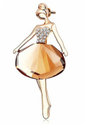 Odette Little Ballet Girl Rhinestone Crystle Pin Brooch for Bridal or Wedding